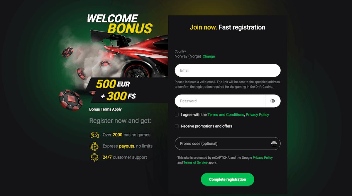 Drift Casino registrering
