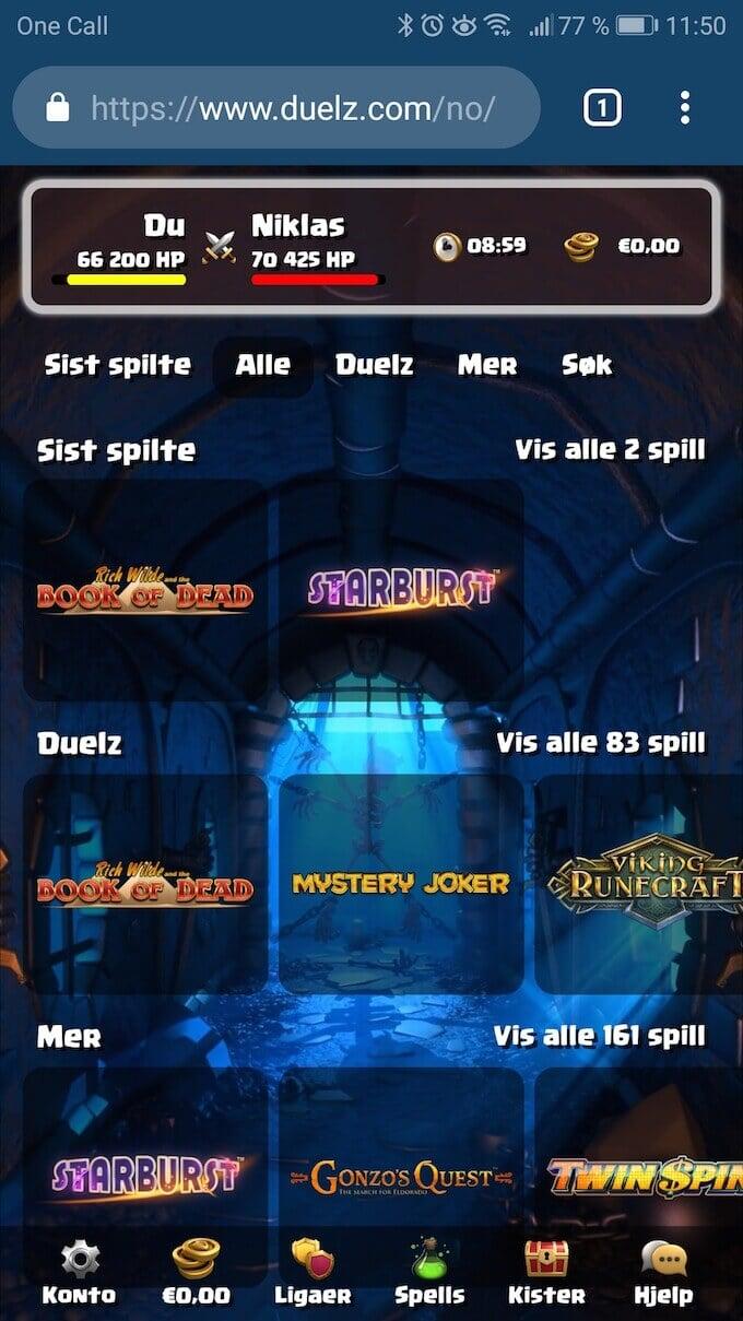 Duelz Casino spill og dueller