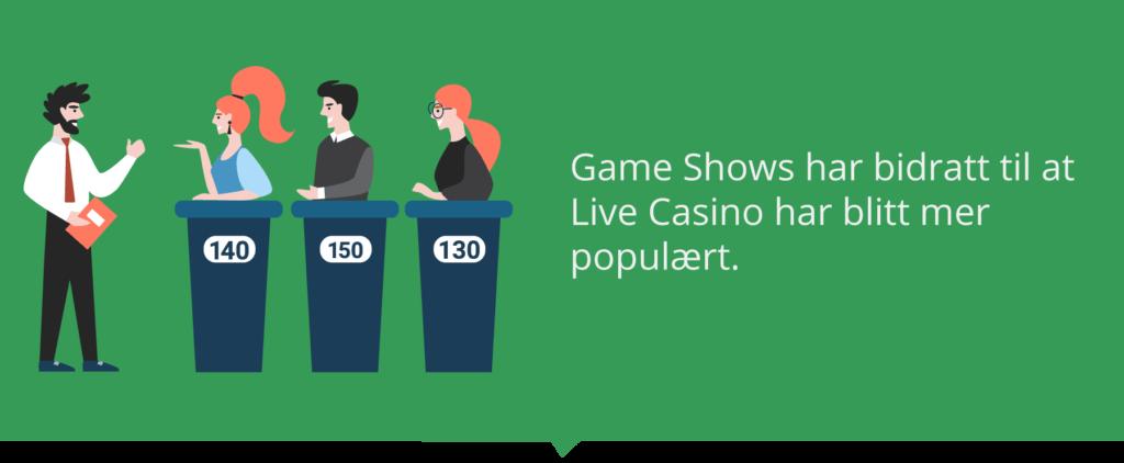 Game Shows har gjort Live Casino mer populært