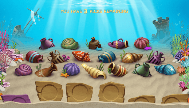 Golden Fish Tank valg av objekter før free spins