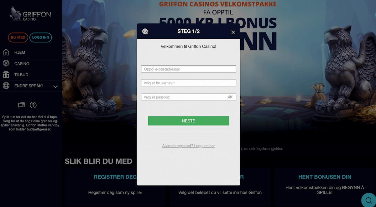 Griffon Casino registrering