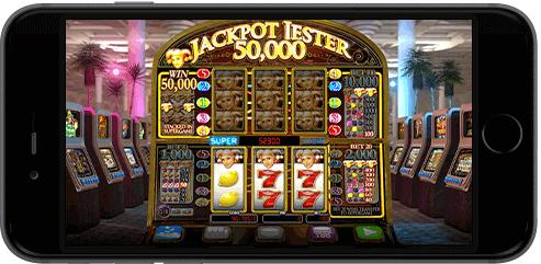 Spilleautomaten Jackpot Jester 50 000 fra NextGen Gaming på mobilen