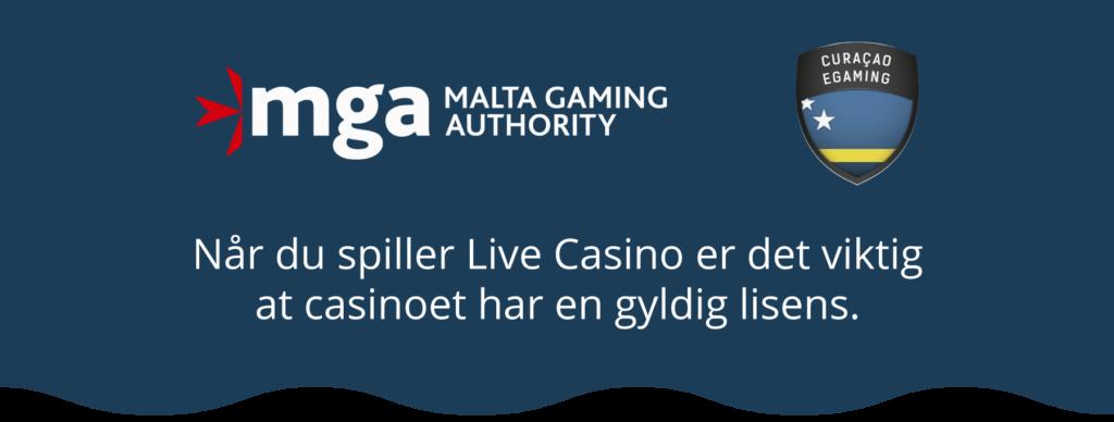 Live Casino - gyldig lisens