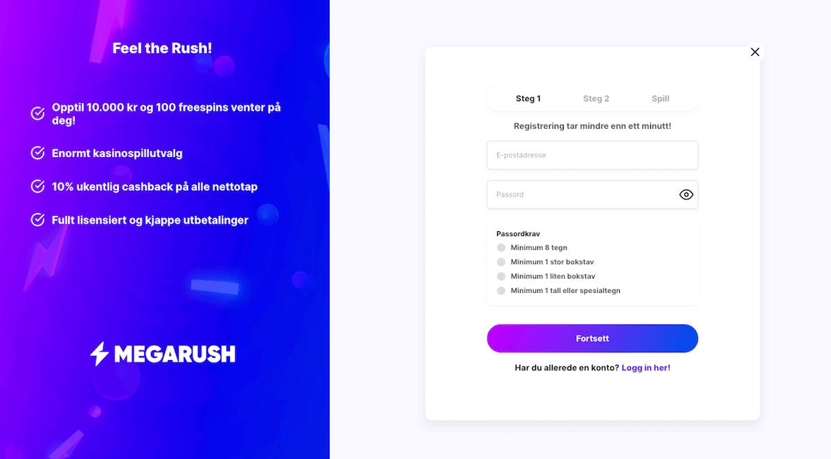 MegaRush registrering