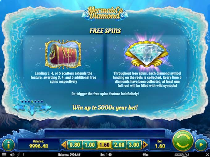 Mermaid's Diamond free spins