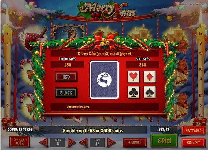 Gamble for sjansen til å doble eller firedoble gevinsten din i Merry Xmas