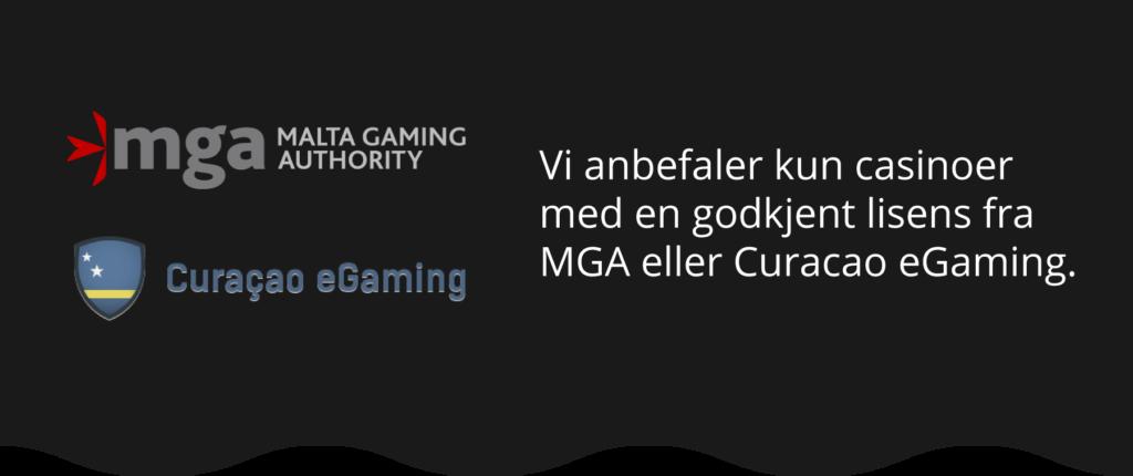 NorgeKasino anbefaler kun casinoer med en godkjent lisens