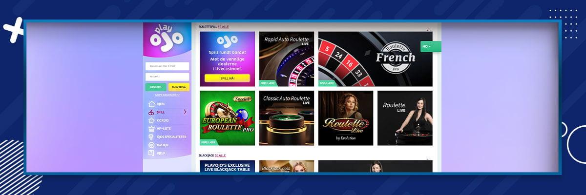 PlayOJO - Live Casino
