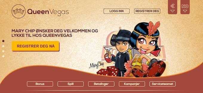 QueenVegas Casino forside