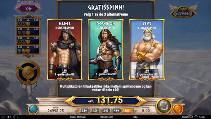 Rise of Olympus free spins-valg