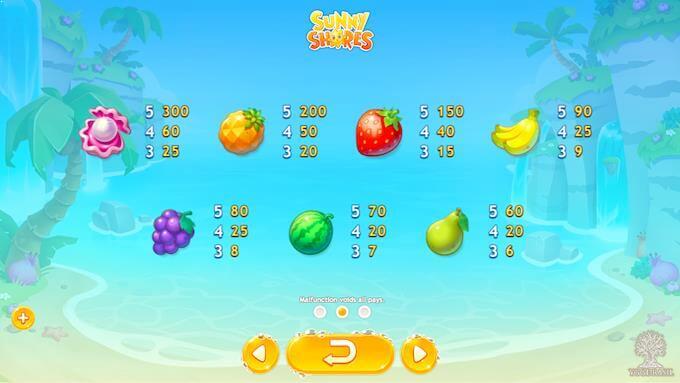 Symboler på spilleautomaten Sunny Shores