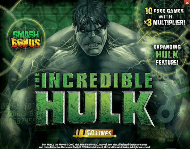 Jackpotspillet The Incredible Hulk er et populært spill fra Playtech