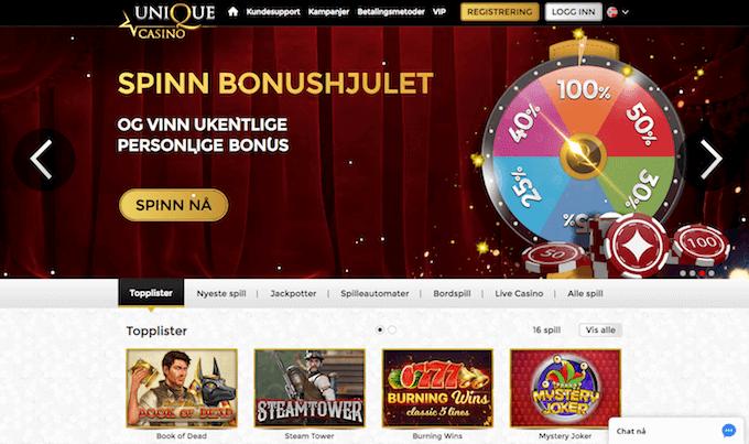 Unique Casino forside