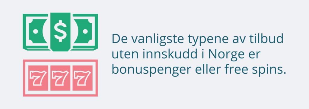 Venlige typer av casinotilbud uten innskudd i Norge er bonuspenger og free spins