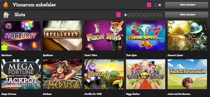Vinnarum har et godt utvalg av spilleautomater