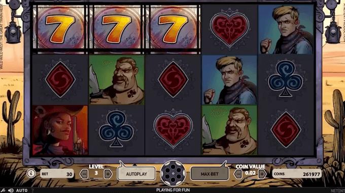 Tre 7-tall aktiverer free spins-modus på spilleautomaten Wild Wild West