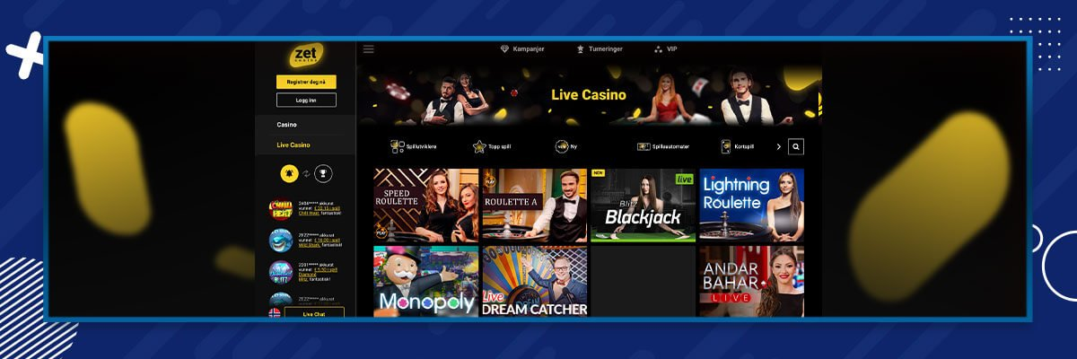 ZetCasino - Live Casino